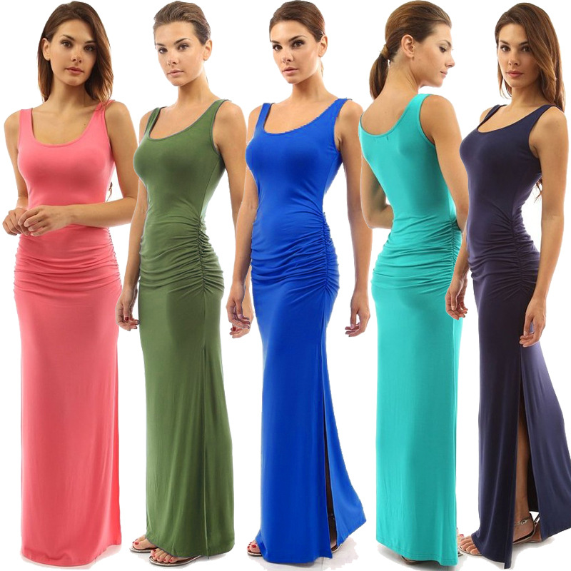 RIMIUT 2017 Sexy Long Length Maxi Solid Dresses For Women Casual Sheath Sleeveless O neck Party Big Swing Summer Dress Clothing