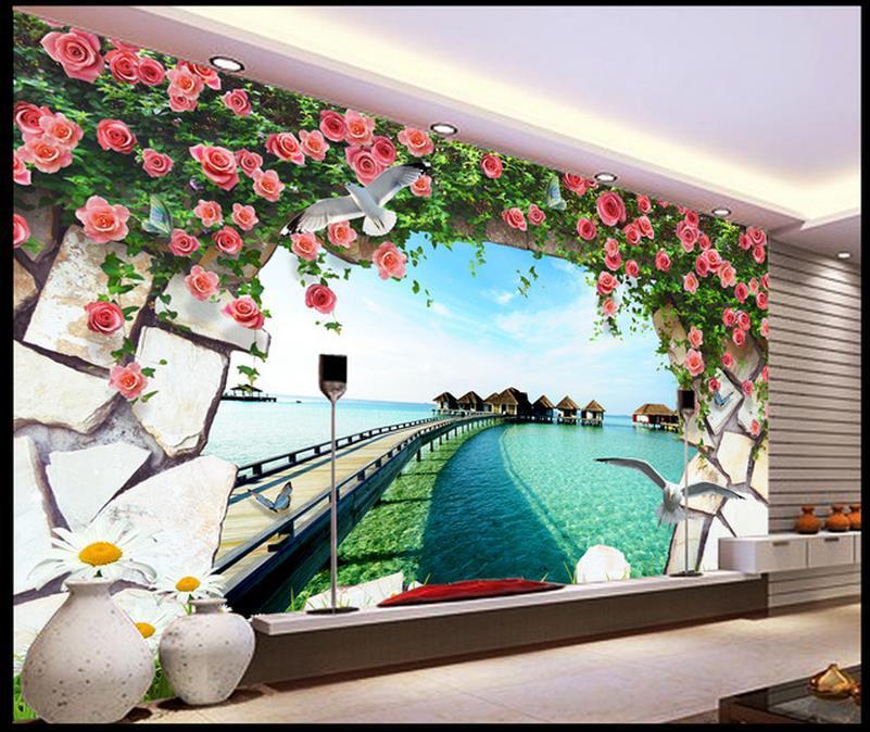 livraison gratuite moderne mur 3d peintures murales papier peint 3d rose ocean pier 3d murale. Black Bedroom Furniture Sets. Home Design Ideas
