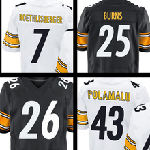 Men's #25 Artie Burns #43 Troy Polamalu jersey #7 Ben Roethlisberger #26 Bell White Black Elite jerseys 100% Stitched Logos(China (Mainland))