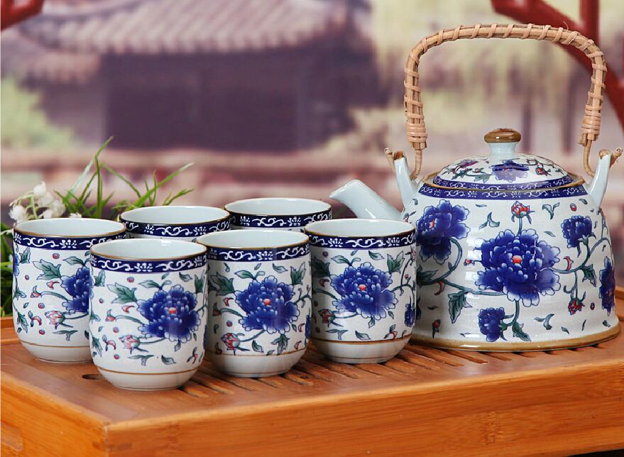 7Pcs Chinese DEHUA Porcelain Tea Set With Rattan Handle