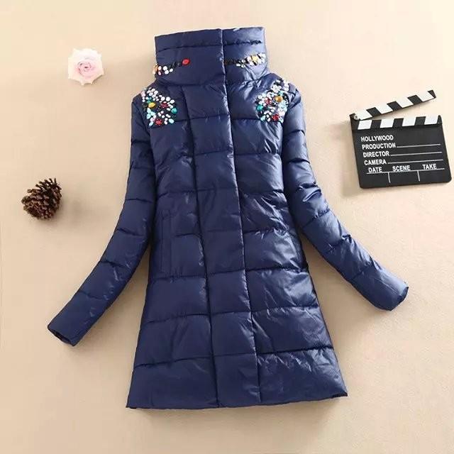 Скидки на 2016 зима новый женщин хлопка куртка Длинный отрезок Вниз хлопка пальто алмазные случайные Куртка толщиной теплое пальто Плюс Размер