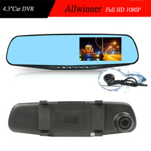 Dual Camera Car DVR Rearview Mirror Dash Cam Full HD 1080P 4.3'' auto Dvrs parking recorder video camcorder night vision(China (Mainland))