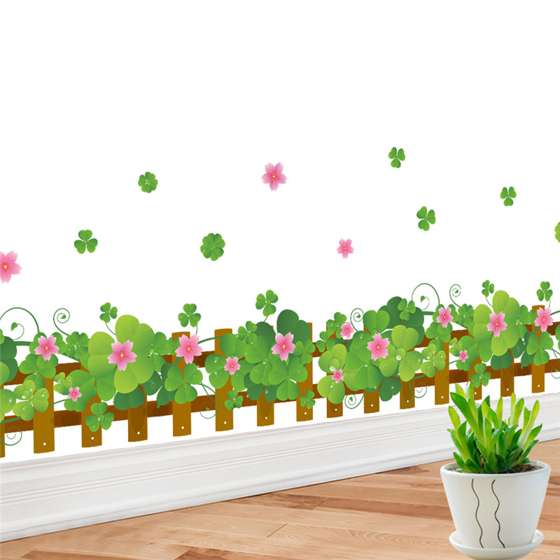 fresh green color Clover skirting line pink Flora diy home decal wall sticker Furniture cupboard kitchen store decorative art(China (Mainland))