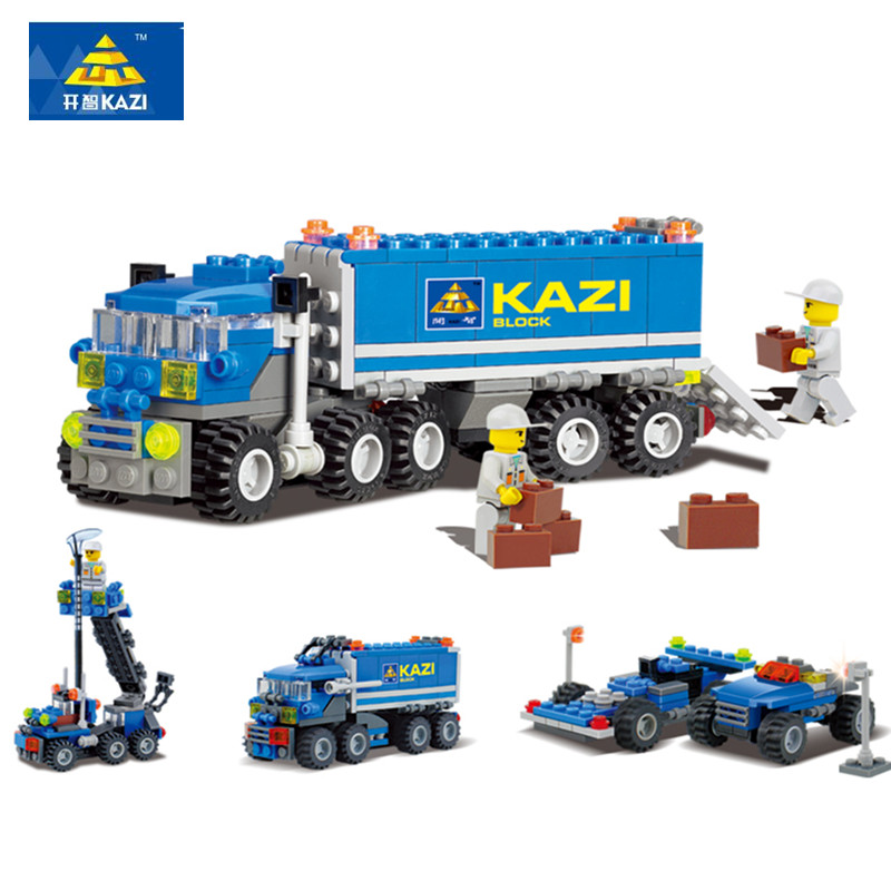KAZI 163pcs kids Blocks birthday Xmas gift Truck DIY toys educational building blocks brinquedos comptible all brand playmobile(China (Mainland))