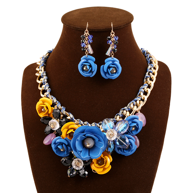 2015 Fashion Jewelry Sets Statment Necklace Three-dimensional Metal Flower Resin Beads Crystal Bib Necklace Pendants Set women(China (Mainland))