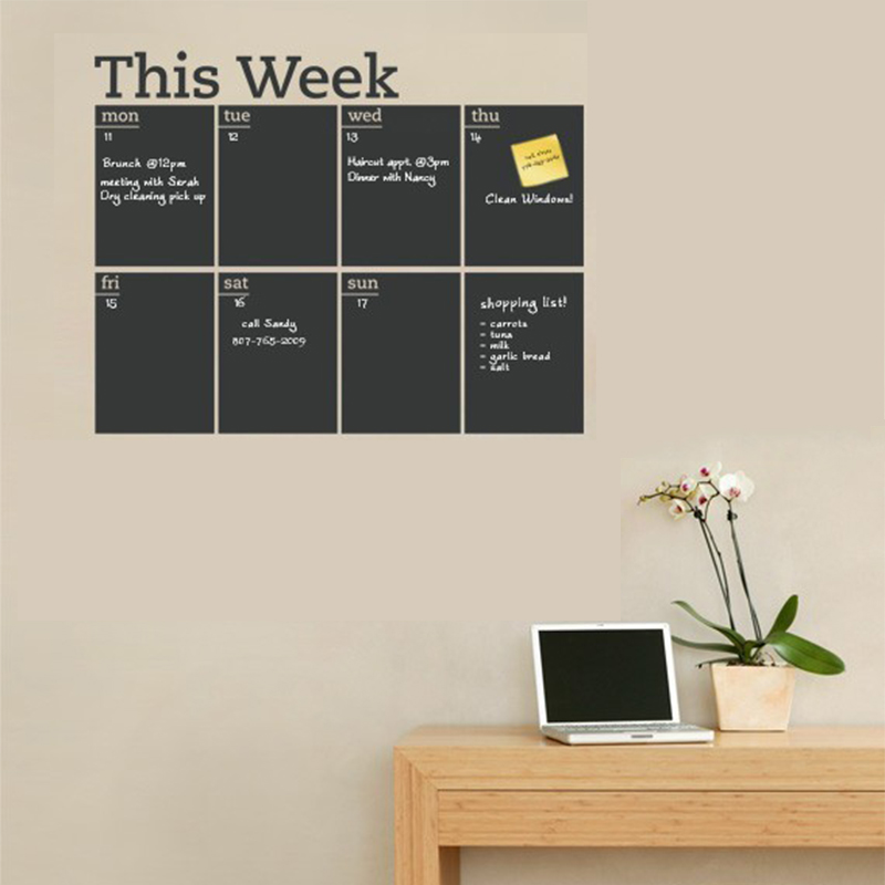 This Week Chalkboard Sticker Removable Vinyl Blackboard Office Decoration Wall Stickers Home Decor TB Sale(China (Mainland))