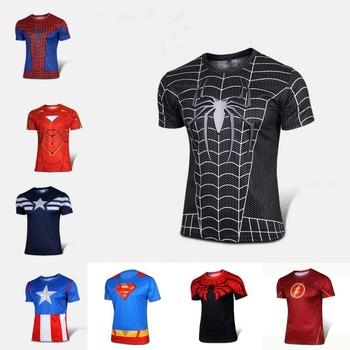 Free shipping 2016 t-shirt Superman/Batman/spider man/captain America /Hulk/Iron Man / t shirt men fitness shirts men t shirts