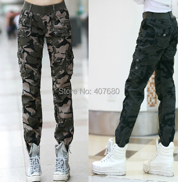 2016 New Womens Fashion Casual Loose Camouflage Army Green Outdoors Cargo Pants Elastic Waist 100% Cotton Sport S-3xl - Cool store