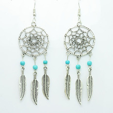 New fashion jewelry vintage silver plated Dream catcher drop dangle earring gift for women girl E2835(China (Mainland))