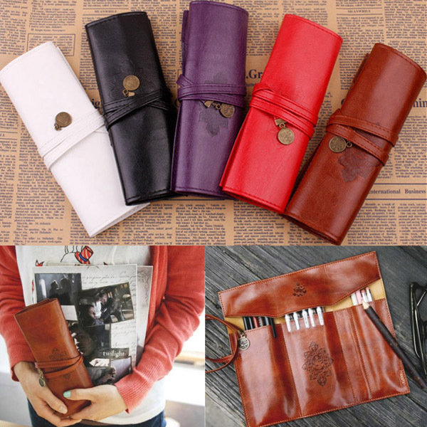 New Style Roll PU Leather Purse Pouch Makeup Pem Pencil Case Cosmetic Bag Retro(China (Mainland))