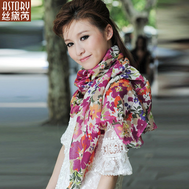 Astory wire 2013 thin Women velvet ultra soft print scarf cape