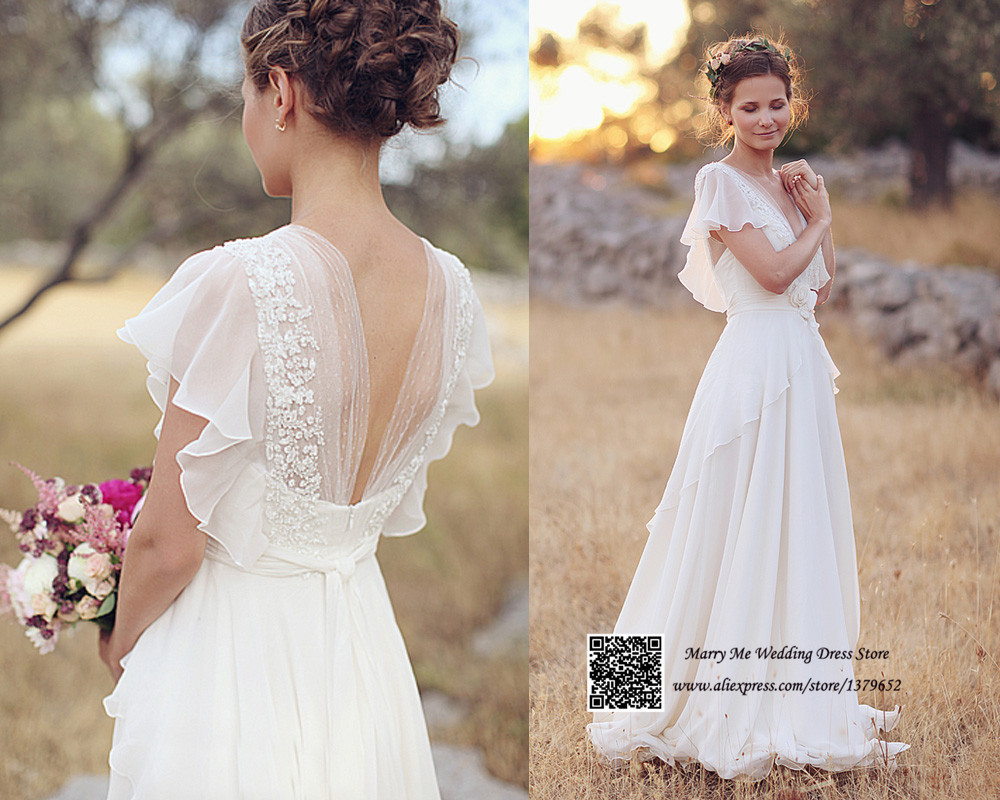 Romantic white v neck open back short sleeve lace chiffon for Long sleeve chiffon wedding dress