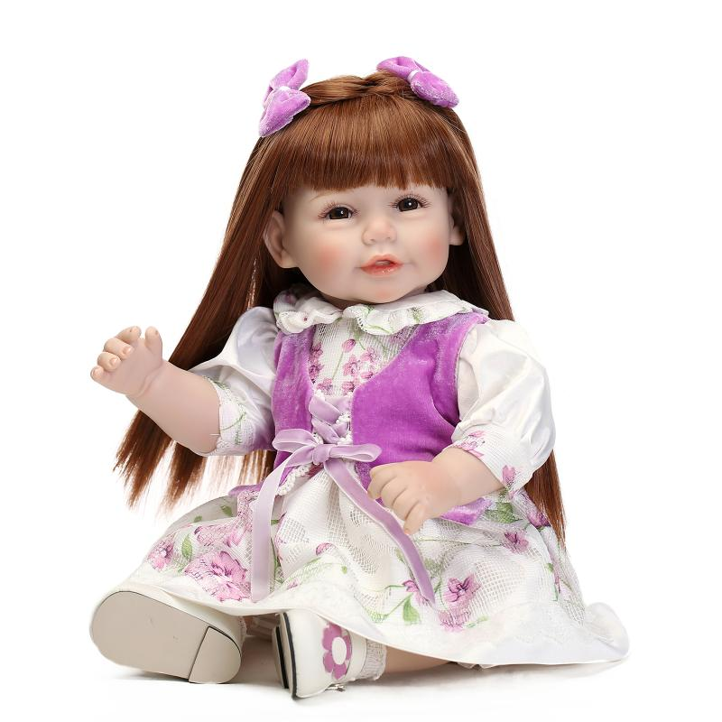 Фотография 55cm Vinyl Silicone toddler doll toy play house dolls birthday gift for girls kids child cute dress up princess dolls