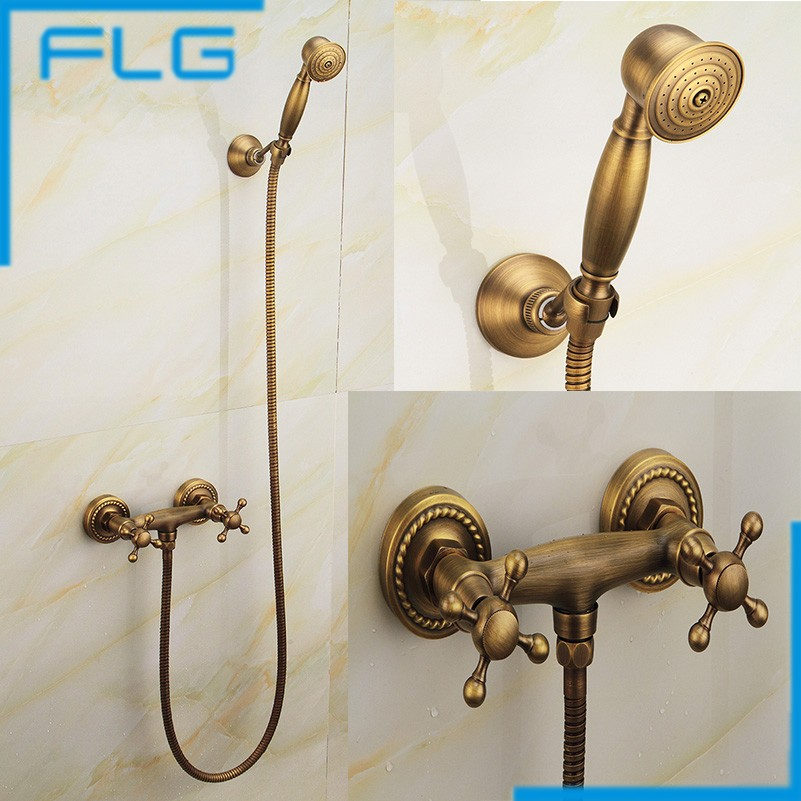 New Arrival Antique Copper Wall Mounted Bath Shower Faucet, Antique Brass Dual Handle Hand Shower Set(China (Mainland))