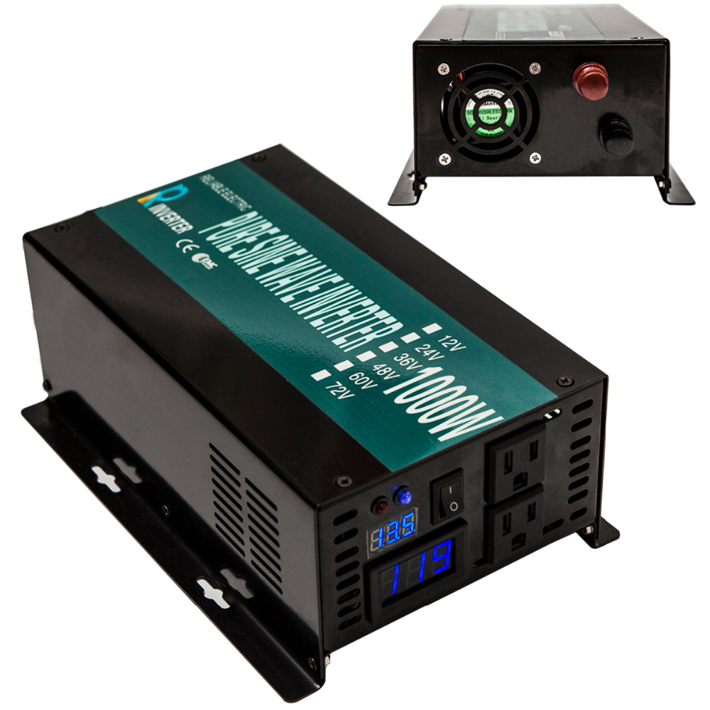1000w Full Power supply off grid 12v to 110 volts converter transformer Pure Sine Wave power inverter home solar power system(China (Mainland))