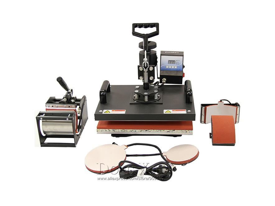 Купить 7 в 1 Комбинированная машина передачи тепла для футболки, кружки, шляпа, плиты сублимационной печати передачи тепла прессы машина