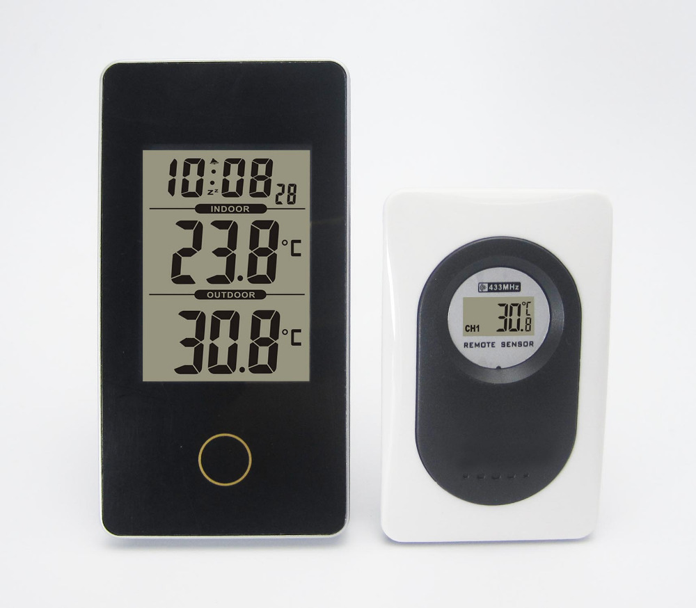 New Mini Protable Black Wireless Weather Station with Indoor Outdoor Digital Thermometer Digital Snooze/Alarm For Home Office(China (Mainland))