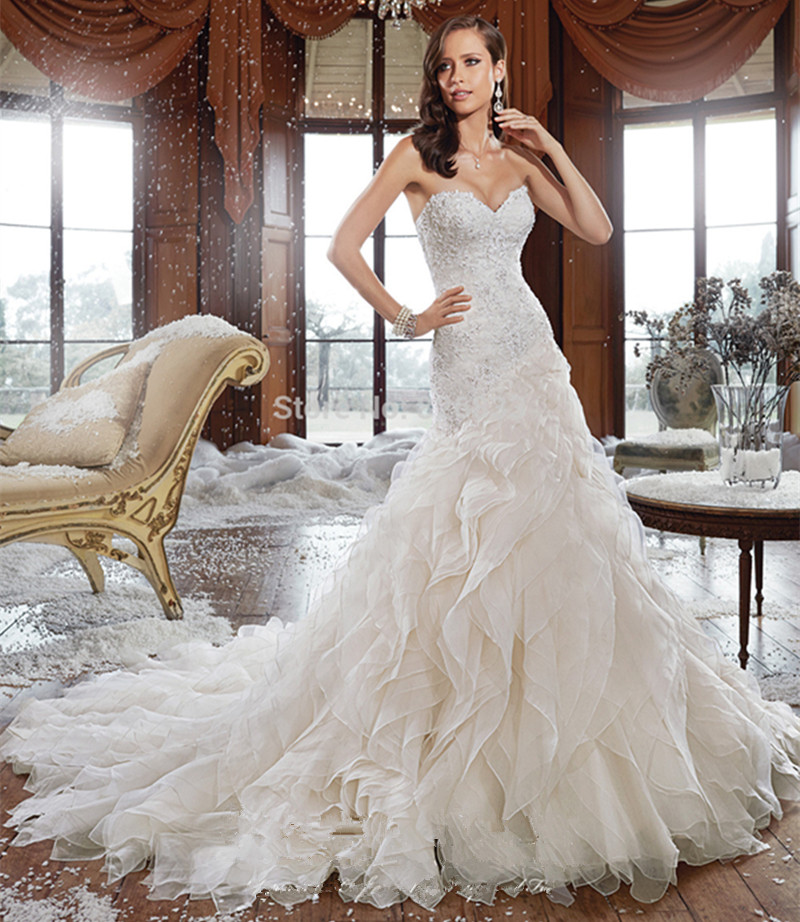 Mermaid Wedding Dresses With Long Trains : Elegant beaded mermaid wedding dress with long train sexy sweetheart