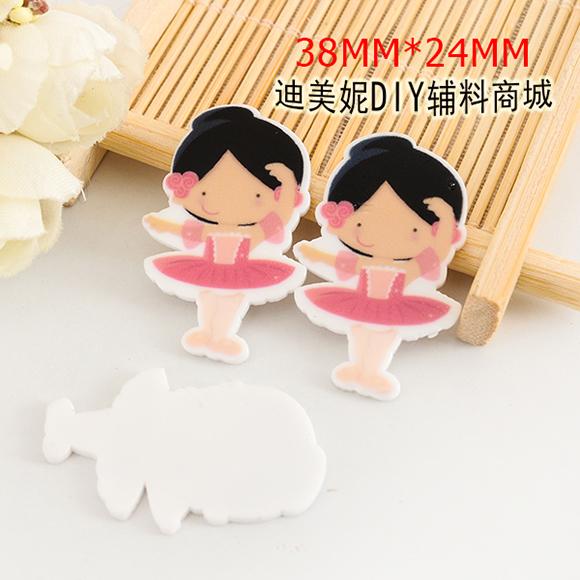 kawaii Ballerina girl Cartoon Figurine home garden decoration crafts flat back planar resin DIY phone hair Bow accessories 6473(China (Mainland))
