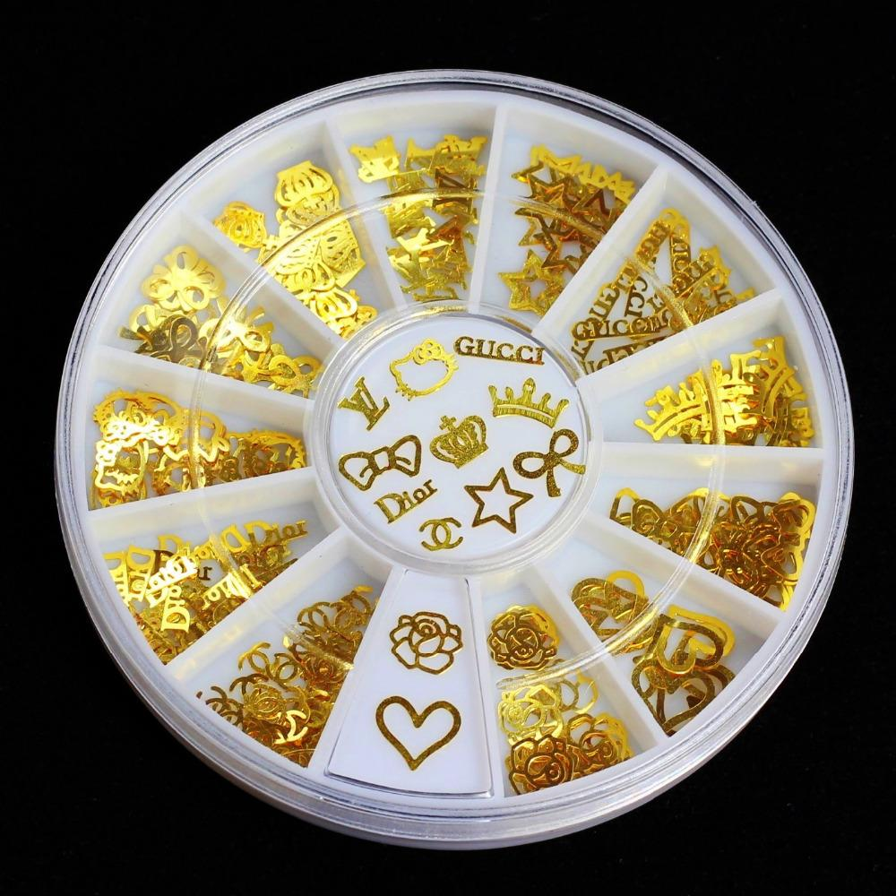 12 Models Gold Metal Stickers Nail Art Tips Crystal Glitter Rhinestone  Fashion Nail Tools DIY Decoration Stamping 5dc6905b22a3