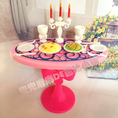 Sizzling Sale Doll Home Miniature Furnishings Eating Desk Units For Barbie doll Swish Fashionable Retro Woman Child Youngster Toys