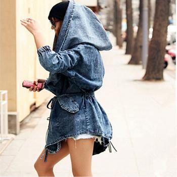 Девочка в деним негабаритных балахон закрытый воротник верхняя одежда джинсовый ветер ...