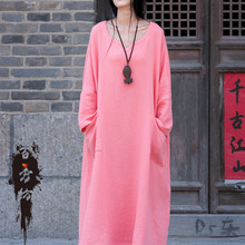 2015 Fashion Autumn Mori Girl Kawaii Lolita Ethnic Brief Vintage Cotton Linen Double-layer Gown Dress Full Sleeve Casual Dresses