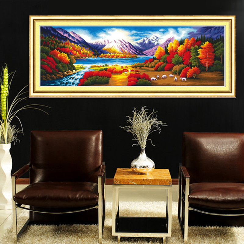 Free shipping 100% Accurate Printed 2m Cross Stitch Autumn iraqis color tree embroidery kits home decoration handmade handicraft(China (Mainland))
