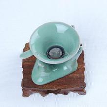 Di Kiln Longquan Celedon Porcelain strainer Stand For Gongfu Tea Handmade