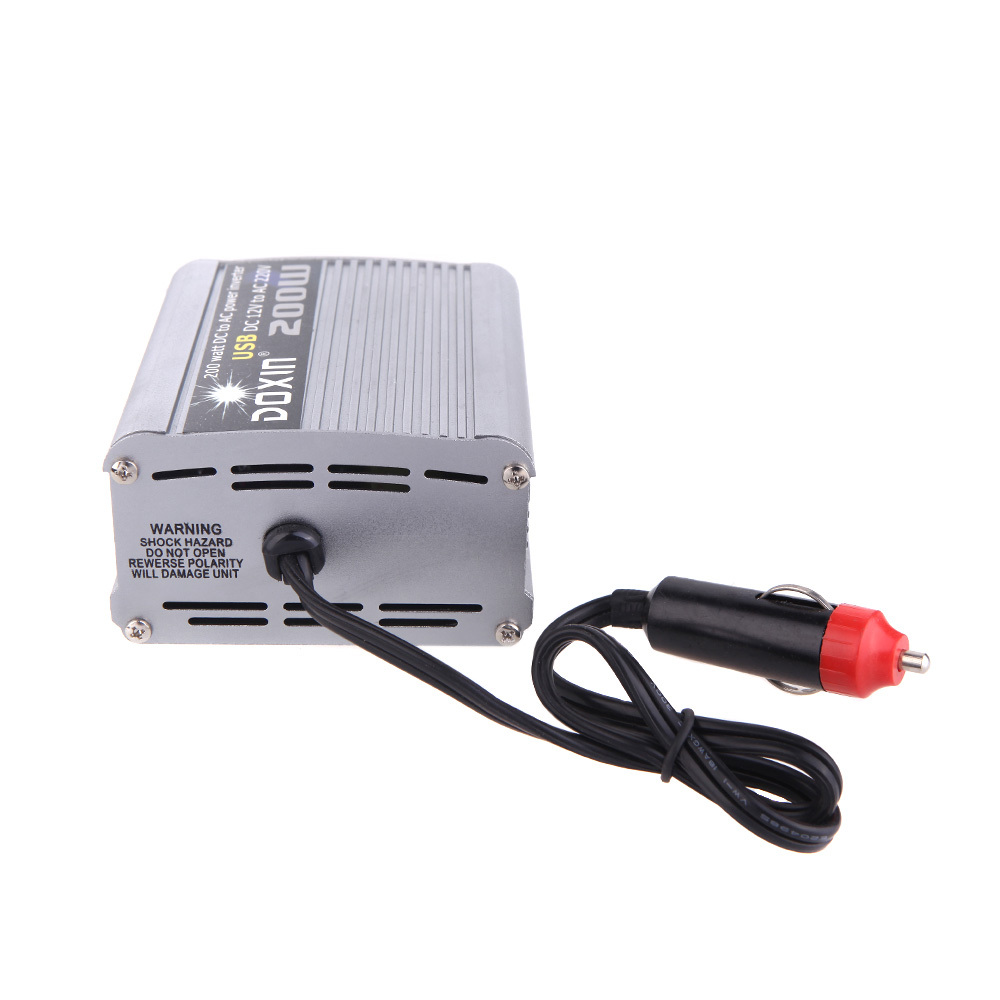 200W Watt Car Power Inverter Converter DC 12V to AC 220V USB Adapter Portable Voltage Transformer Car Chargers(China (Mainland))