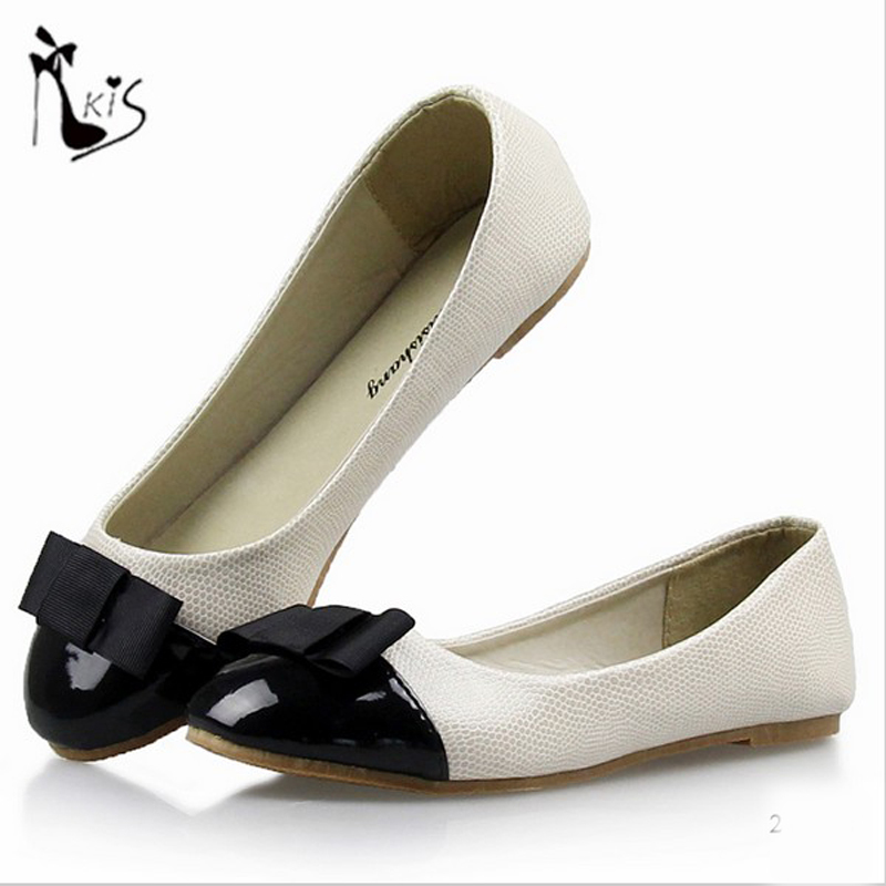Shoes woman fashion korean style bowtie snakeskin grain premuim pu flat shoes round toe slip on Korean fashion style shoes