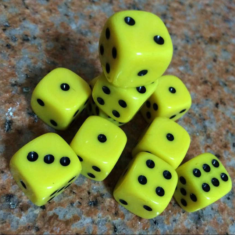 Best Promotion 10Pcs 16mm Multicolor Acrylic Round Corner Dice 6 sided Die Portable Table Games Dice