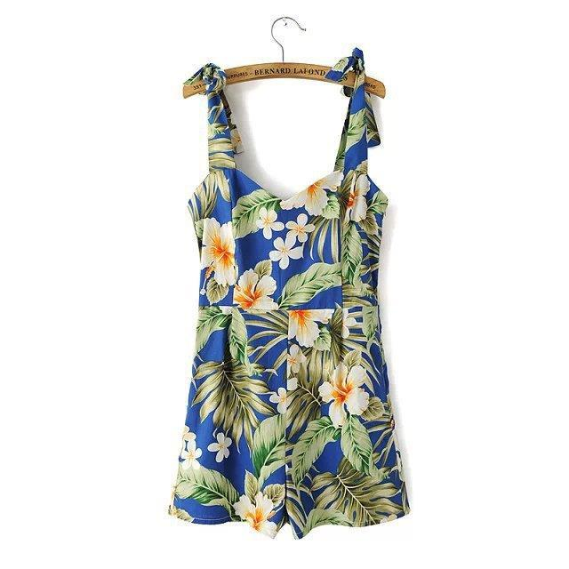 2015 summer ladies new shoulder bow Blue Lily print women short jumpsuit - Chic Classic Store store