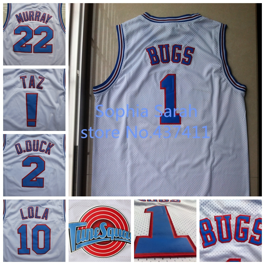 Space Jam #22 Bill Murray #1 Bugs Bunny #! TAZ #10 Lola Bunny #2 D.DUCK White Basketball Jersey, Tune Squad Basketball Jersey(China (Mainland))