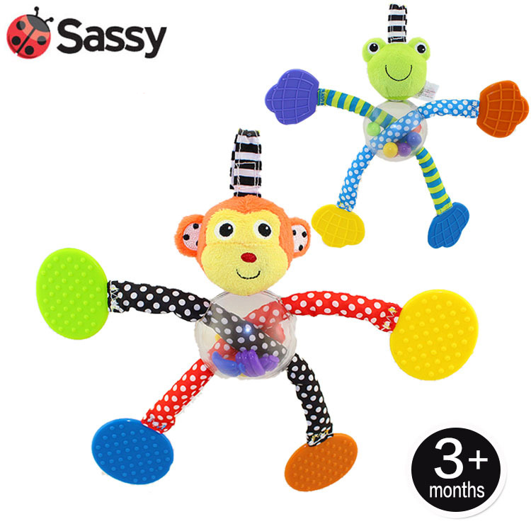 Baby Toys 0-12 Months Baby Teether Sassy Monkey Frog Mobile Brinquedo Para Bebe Stroller Toy On The Bed Hand Bell Novel Bebe(China (Mainland))