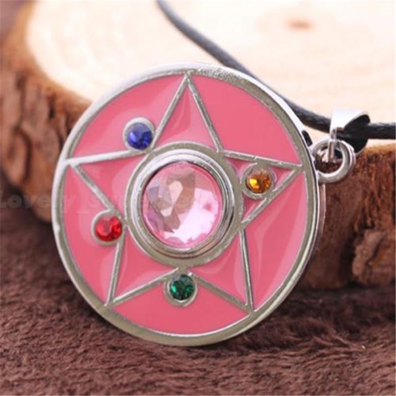 [PCMOS] 2017 Hot Sale Sailor Moon Pink Diamond Star Anime Pendant Necklace with String Gift Toy Free Shipping 1186(China (Mainland))