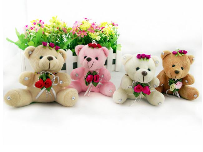 60pcs 10cm wedding bouquet bears toys doll teddy bear plush toys wedding accessory for flower bouquets flower shop(China (Mainland))