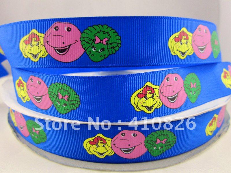 WM wholesale 7/8inch 22mm barney and friends on blue silk screen print grosgrain ribbon for hairbow 50yards/roll(China (Mainland))