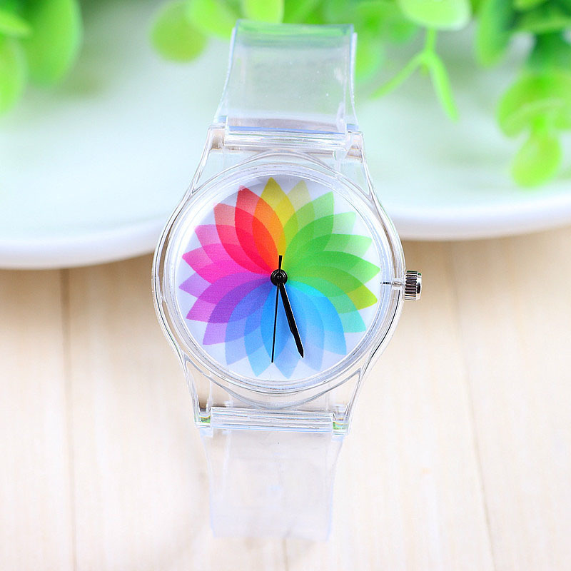Гаджет  New Arrival Jelly Silicone Transparent Plastic Women Quartz Windmill Watch Rainbow Clear Wrist women dress Watch None Часы