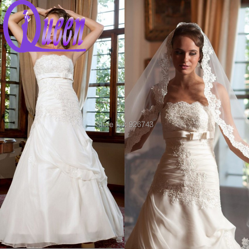 Champagne color off the shoulder a line lace appliques for Veil for champagne wedding dress