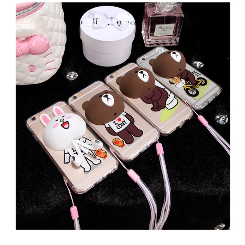 2016 Newest DIY Stylish teddy bear Earphone Cable Bobbin Winder Design For Phone6S 6 6plus Protector back cover case simpsons(China (Mainland))