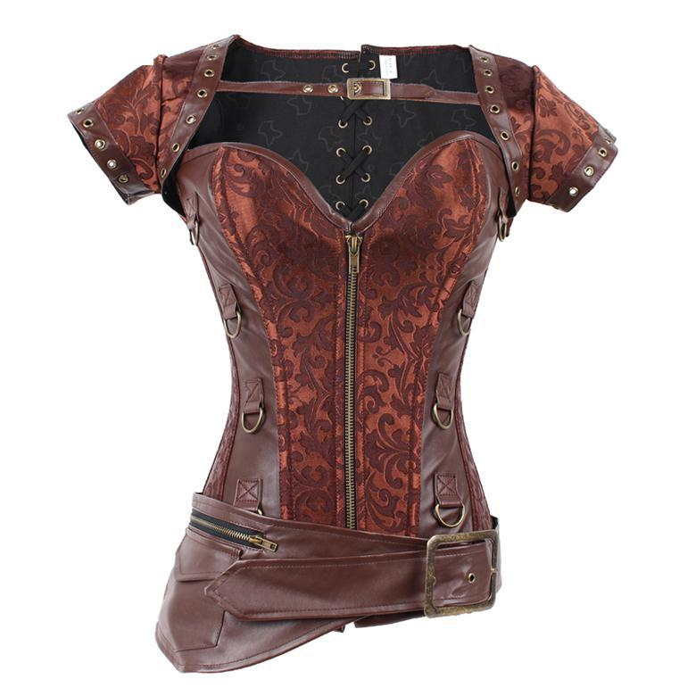 Latex Zipper Front Steel Boned Brown Steampunk Corset Corsage Women Burlesque Sexy Overbust Push Up Corpete Corselet Espartilhos(China (Mainland))
