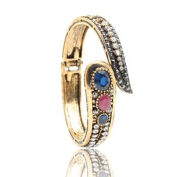 Vintage Women Turkish Leaf Bangles Antique Gold Color Color Crystal Ladies Bracelets Ethnic Imitation Jewelry Pulseira Feminina