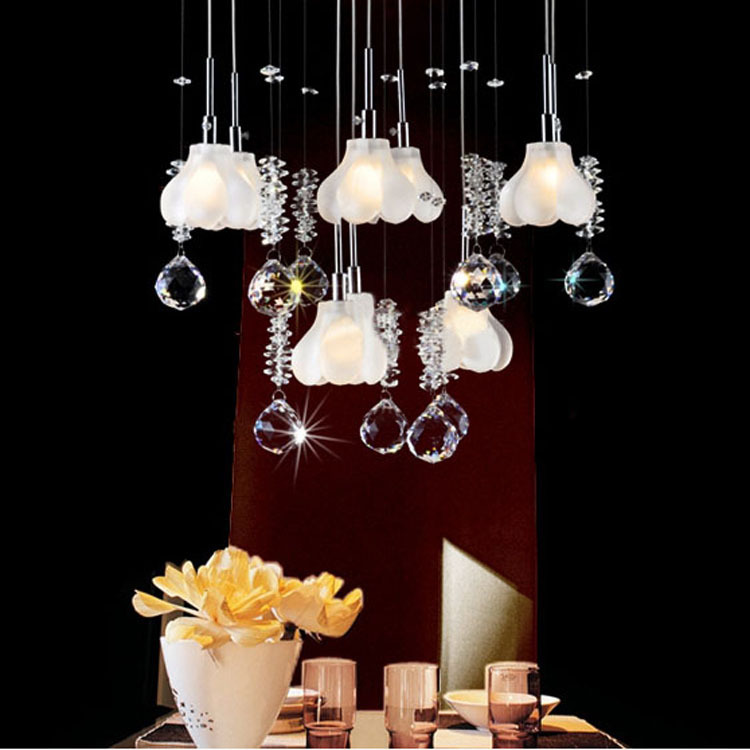 new arival Modern brief crystal lamp pendant light restaurant lamp flower lamps 9048 free shipping(China (Mainland))