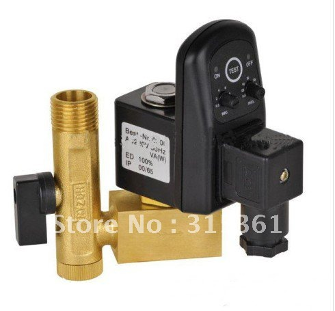Free Shipping High Quality 1/2'' Electric Drain Timer Valve 24-230V with Brass Fitting DC24V AC110V or AC220V EDV-15 with Tube(China (Mainland))