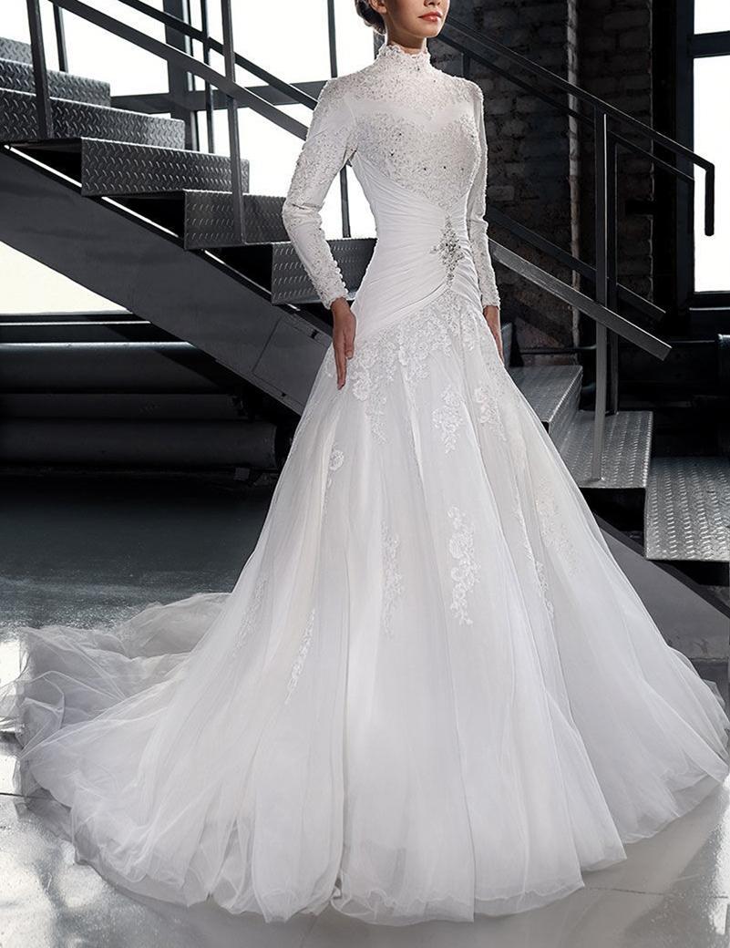 Vestidos Novia высокое Nack исламские свадебные платья с бусины и кристалл длинным рукавом тюль свадебные платья мантия Mariage сексуальная