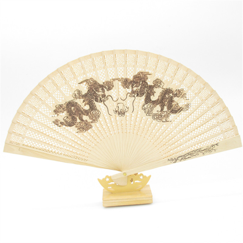 Wooden Folding Hand Fans Hollow Carved Dragon Peacock Flower Chinese Sandalwood Fan Wedding Bridal Dance Party Decor Gifts()