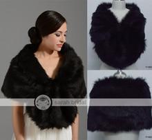 Élégante de mariage de mariée Wraps et châles hiver parti robes accessoires de mariage chaud noir en fausse fourrure boléro femmes 17002 en Stock(China (Mainland))