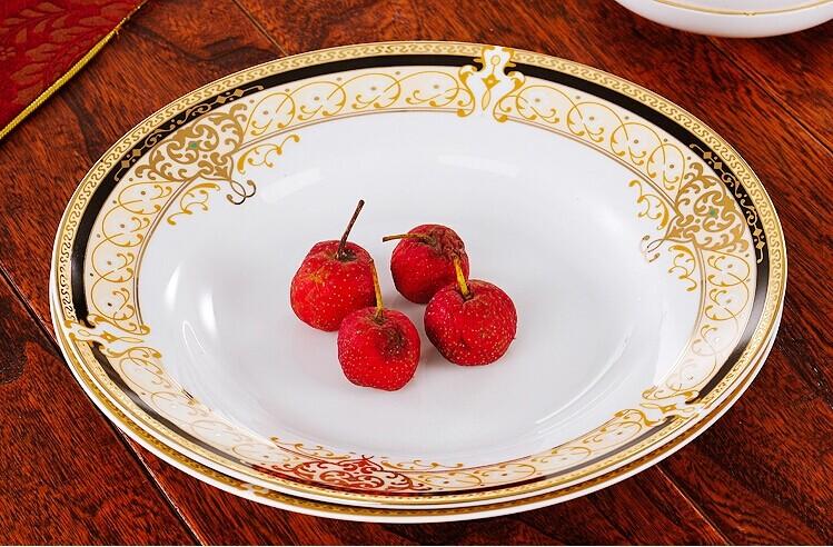 Dinnerware Sets Jingdezhen 56 golden Vienna bone china ceramic tableware European royal style porcelain bowl dish dinner plate(China (Mainland))