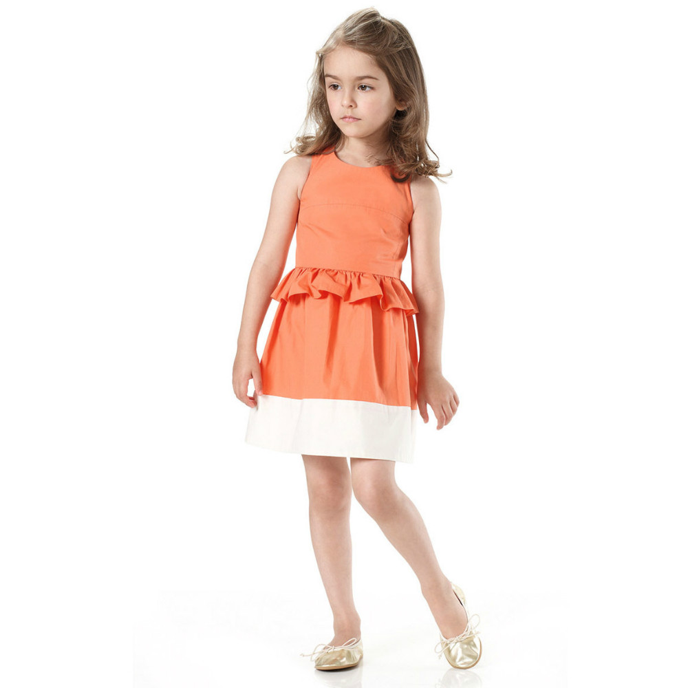 2015 Party Girls Dress Children Sleeveless dress orange casual dress   Ready In Stock Free Shipping
